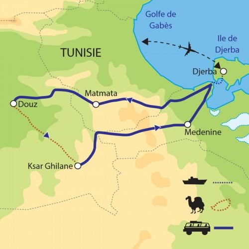 Carte : Tunisie - Immersion dans le Sahara Tunisien
