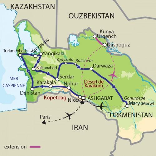 Carte : Turkménistan - Expédition dans le Karakoum et Route de la soie