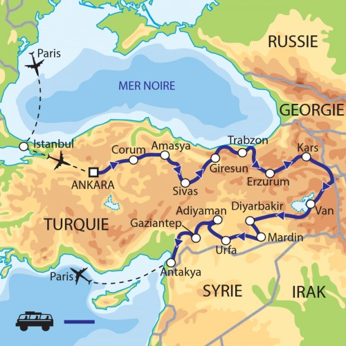 Carte : Turquie - En Anatolie Orientale, d'Ankara à Antioche