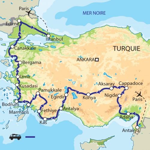Carte : Turquie - En Anatolie Occidentale, d'Antioche à Edirne