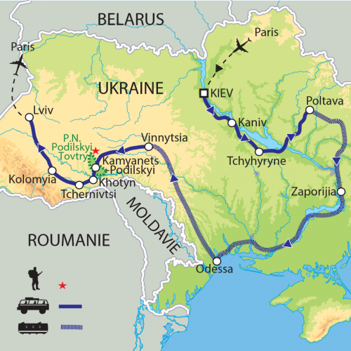 Carte : Ukraine - De la mer Noire aux Carpates