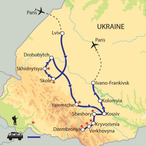Carte : Ukraine - De la Galicie aux Carpates
