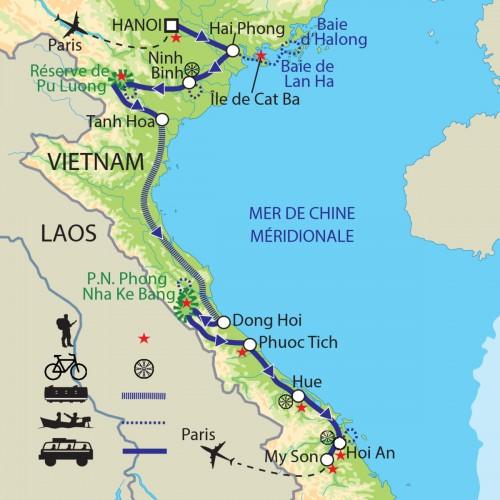 Carte : Vietnam - Joyaux naturels, de Pu Luong à Phong Nha