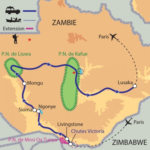 Carte : Zambie - Aux frontières du Zambèze